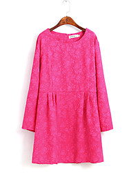 Women's Work / Sports Cute / Chinoiserie T Shirt Dress,Solid Round Neck Above Knee Long Sleeve Pink Cotton All Seasons Mid Rise