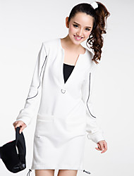 Women's Going out / Casual/Daily / Beach Simple / Active Loose Dress,Solid Deep V Above Knee Long Sleeve White Cotton Spring / FallHigh