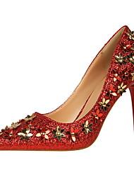 Women's Heels Fall Comfort Leatherette Dress Stiletto Heel Flower Black / Pink / Red / White / Silver / Gray / Gold Walking