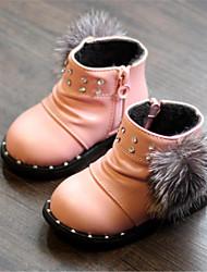 Mädchen-Stiefel-Lässig-Kunstleder-Flacher Absatz-Komfort-Rosa Rot