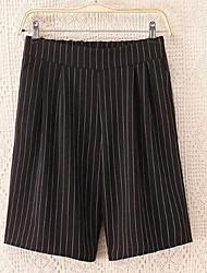 Feminino Perna larga Chinos Calças-Cor Única / Listrado Happy-Hour / Casual Simples Cintura Média Elasticidade Pêlo Artificial