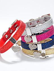 Katzen / Hunde Halsbänder Regolabile/Einziehbar Herzen / Strass Rot / Blau / Gold / Silber / Rose PU Leder