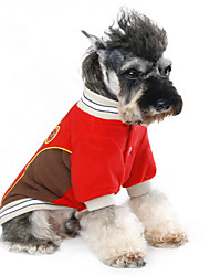 Dog Jacket Red Dog Clothes Winter / Spring/Fall Letter & Number Keep Warm