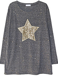 Fashion large size women Long sleeves Round neck Five-pointed star sequins Loose Shirt