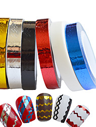 6pcs 6mm Waves Design Nail Art Stripping Tape Line Self-Adhesive Tips Sticker
