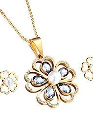 Kalen® New Women Stainless Steel Pearl Jewelry Sets 18K Dubai Gold Plated Crystal Flower Pendant