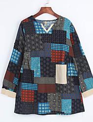 Moulante Robe Aux femmes Décontracté / Quotidien Sexy / Vintage / Mignon,Mosaïque Col Arrondi Au dessus du genou Manches Courtes Gris Lin