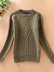 Damen Kurz Pullover-Lässig/Alltäglich Einfach Solide Blau Beige Grau Rundhalsausschnitt Langarm Wolle Baumwolle Herbst Mittel