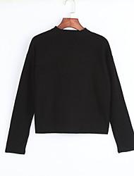 Court Pullover Femme Décontracté / Quotidien Chic de Rue,Couleur Pleine Noir Col Ras du Cou Manches Longues Polyester Printemps / Hiver