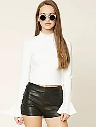 Damen Solide Street Schick Ausgehen T-shirt,Rundhalsausschnitt Sommer Langarm Weiß Baumwolle / Polyester Mittel