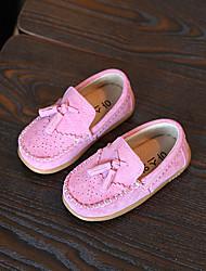Para Meninas-Sapatos de Barco-Others / Conforto-Rasteiro-Preto / Marrom / Rosa-Couro de Porco-Ar-Livre / Casual