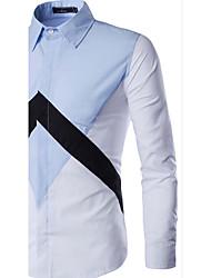 Men's Casual/Daily Simple Shirt,Color Block Square Neck Long Sleeve Blue / Black Cotton