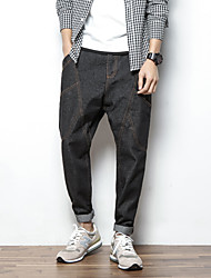 Men's Straight Jeans Pants,Casual/Daily Vintage Solid Mid Rise Zipper Linen Micro-elastic Spring / Fall