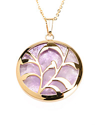 Simple Purple Acrylic Inlay 316L Stainless Steel Grass Pendant Necklace