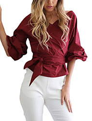 Women's Going out / Casual/Daily Sexy / Cute Spring / Fall Shirt,Solid / Striped V Neck ¾ Sleeve Blue / Red / White Cotton / Linen Thin