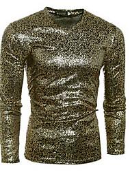 Tee-shirt Hommes,Lettre Sortie / Décontracté / Quotidien simple Automne Manches Longues Col en V Noir Coton Moyen