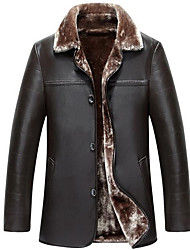 Men's Casual/Daily Simple Fur Coat,Solid Shirt Collar Long Sleeve Winter Multi-color PU Thick