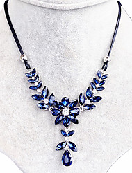Necklace Crystal Collar Necklaces Jewelry Wedding / Party / Daily Flower Flower Style Crystal Women 1pc Gift Royal Blue