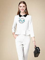 DOF Women's Casual/Daily Simple Fall Set PantStriped Shirt Collar  Sleeve White Cotton