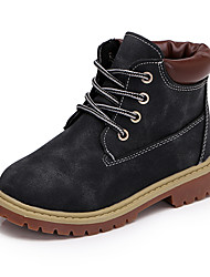 Boy's Boots Spring Fall Winter Comfort Leather Outdoor Casual Athletic Low Heel Lace-up Black Brown