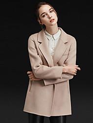 Damen Solide Einfach Lässig/Alltäglich Mantel,Winter Gekerbtes Revers Langarm Rosa / Beige / Grau / Grün / Gelb Wolle / Polyester