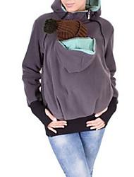 Gravidez Camiseta Casual Simples Primavera / Outono,Sólido Azul / Vermelho / Preto / Cinza / Roxo Algodão Com Capuz Manga Longa Média