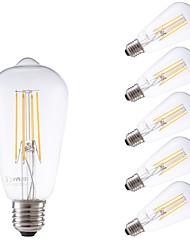 6W E26/E27 Ampoules à Filament LED ST58 4 COB 600 lm Blanc Chaud Gradable Décorative AC 100-240 V 6 pièces