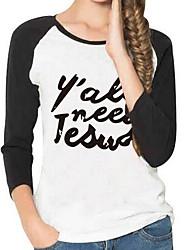 Damen Geometrisch Einfach Ausgehen T-shirt,Rundhalsausschnitt Kurzarm Weiß Baumwolle