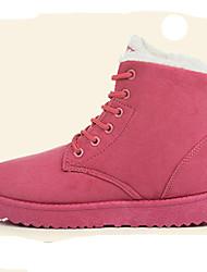 Women's Boots Fall Winter Comfort Fur Outdoor Casual Flat Heel Lace-up Black Red Beige Coffee Walking