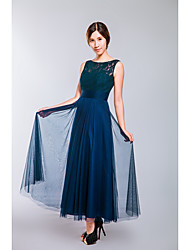 Formal Evening Dress A-line Scoop Ankle-length Lace / Tulle with Sash / Ribbon