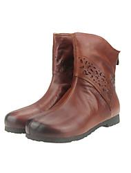 Women's Boots Fall / Winter Others Calf Hair Outdoor / Office & Career / Casual Flat Heel Zipper Black / Green / Tan