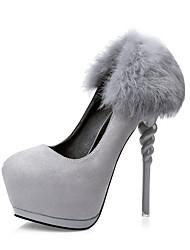 Damen-High Heels-Kleid-Wildleder-Stöckelabsatz-Komfort-Schwarz / Grau / Burgund