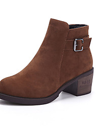 Women's Boots Spring / Fall Platform / Others Suede Outdoor / Dress / Casual Chunky Heel Black / Tan Walking