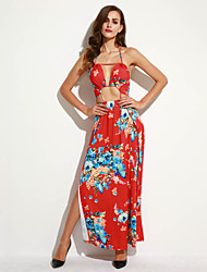 Women's Going out Vintage Split Bandage Backless Sheath Dress,Floral Halter Maxi Sleeveless