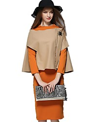 Women's Going out / Casual/Daily / Work Vintage / Cute / Street chic Shift Dress,Solid Round Neck Knee-length Long Sleeve Orange ModalAll