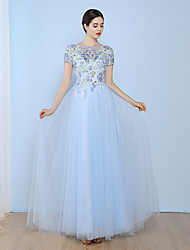 Formal Evening Dress A-line Bateau Floor-length Tulle with Appliques