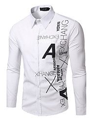 Men's Casual/Daily Simple Shirt,Print Square Neck Long Sleeve Blue / Red / White / Black Cotton