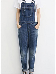 Women's Loose Overalls Pants,Casual/Daily Simple Solid Mid Rise Zipper / Button Cotton Micro-elastic Fall / Winter