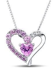 la mode sterling l'argent des femmes serti créé pendentif en saphir rose avec la chaîne de boîte en argent