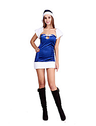 Cosplay Costumes Santa Suits Movie Cosplay Blue Solid Dress / Hats Christmas Female Polyester