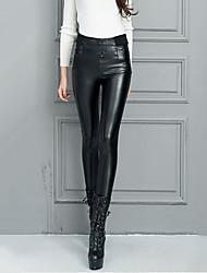 Feminino Skinny Chinos Calças-Cor Única Casual Sexy Cintura Alta Elasticidade PU Micro-Elástico Outono / Inverno