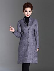 Feminino Casaco Casual / Tamanhos Grandes Simples Outono / Inverno,Sólido Preto / Cinza Outros Colarinho Chinês-Manga Longa