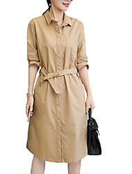 Feminino Camisa Vestido,Informal / Casual Simples / Moda de Rua Sólido Colarinho de Camisa Altura dos Joelhos Manga Longa Azul / Marrom