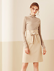 Damen Röcke,Bodycon einfarbigLässig/Alltäglich Einfach Hohe Hüfthöhe Über dem Knie Elastizität Polyester Micro-elastischRiemengurte /