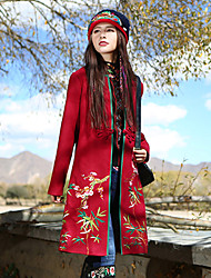 Our Story Women's Casual/Daily Boho CoatEmbroidered V Neck Long Sleeve Winter Red Wool / Polyester