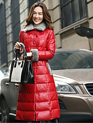 Women's Long Down Coat,Street chic Casual Solid-Lambskin Polypropylene Long Sleeve Shirt Collar Red / Black
