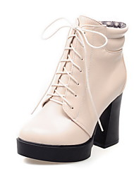 Women's Lace-up High Heels PU Solid Low-top Boots