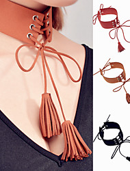 Women European Style Exaggerated Fashion Black Red Velvet Choker Tassel Pendant Short Necklace   1 Piece