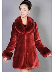 Feminino Casaco de Pêlo Informal / Casual Simples Outono / Inverno,Sólido Vermelho Pêlo Sintético Lapela Xale-Manga Longa Grossa