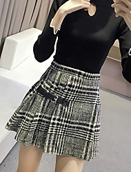Women's A Line Check Skirts,Going out / Casual/Daily Cute High Rise Above Knee Zipper Nylon Inelastic Fall / Winter